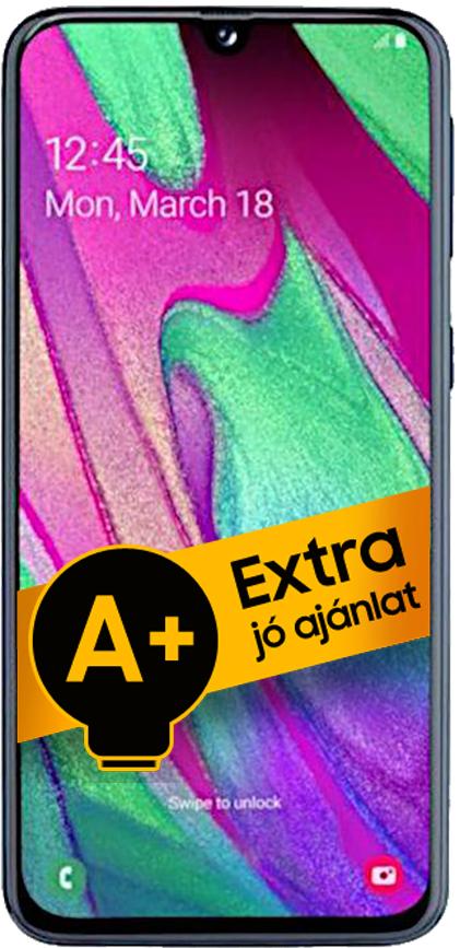Samsung Galaxy A40 DualSIM 64GB (Fekete) 4GB RAM - 1 év jótállás - A+ ajánlat